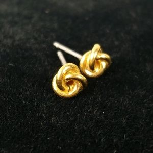 Vintage gold French knot stud pierced earrings